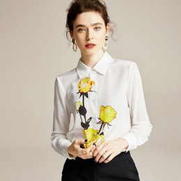 Wholesale fixed s for sale – custom 100 Pure Silk Women s Fashion Runway Shirts Turn Down Collar Long Sleeves Floral Fixed Printed Spring Summer Elegant Blouse