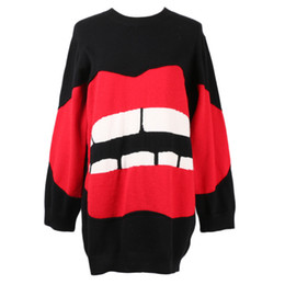 Yellow Lips Australia - 2019 Early Spring Sweater Fashionable Red Lips Printing Sweater Female Knitting Blouses Exquisite And Authentic Quality