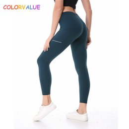d4c198ac4c138 Colorvalue Side Reflective Running Sport Tights Women Anti-sweat Nylon  Fitness Yoga Pants Plus Size Gym Athletic Leggings Xs-xl C19041702