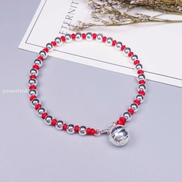silver bracelet bells Australia - Real 925 Sterling Silver Lucky Bell Red Bracelet For Women Bangle Wax String Amulet Friendship Gift Handmade Jewelry