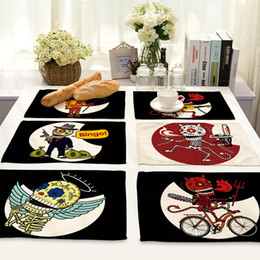 Cartoon Table Accessories Australia - Cartoon Punk Skull Printed Placemat for Dining Table Heat-resistant Anti-slip Table Mat Bowl Coaster Tableware Pad Home Accessories