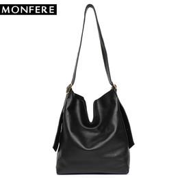 MONFERE Genuine Leather Hobo Handbags Women Classic Vintage Shoulder Bags  Casual Soft Black Leather Tote Crossbody Messenger Bag 5a6f655ea0331