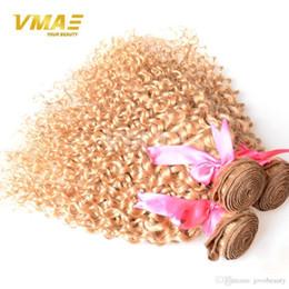 $enCountryForm.capitalKeyWord Australia - Brazilian Blonde Curly Hair Extensions Honey Blonde Human Hair Weave 3PCS Color 27 Kinky Curly Blonde Virgin Hair
