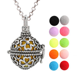 $enCountryForm.capitalKeyWord Australia - Antique Silver Four Leaf Clover Flower Lava Beads Cage Essential Oil Pendant Diffuser Ball Angel Bola Chime Ball Charms With Chain Making