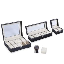 holder wrist 2019 - High Quality PU Leather 2 6 10 Grids Wrist Watch Display Box Storage Holder Organizer Watch Case Jewelry Dispay Box chea