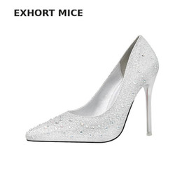 $enCountryForm.capitalKeyWord UK - Designer Dress Shoes Exhort Mice Women Pumps Extreme High Heels Glitter Party Sexy White Bridal Wedding Spring Stiletto Sliver Crystal