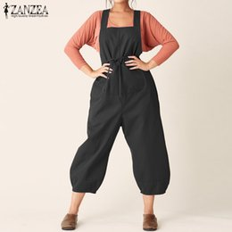 56292739b3 Summer Jumpsuits 2019 ZANZEA Women Strappy Cotton Linen Overalls Casual  Ladies Loose Suspenders Rompers Solid Robe Lantern Pants