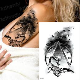 Horror relógio corvo nuvens escuras pirâmide escorpião temporárias tatuagens escorpião tatuagem desenho para homens mulheres tatuagem bússola estilo harry