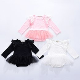 Flying o online shopping - Baby girls lace Flying sleeve romper cartoon infant Tutu Tulle Jumpsuits Fashion Boutique kids Climbing clothes C5701