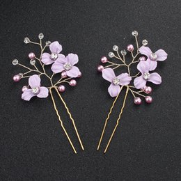 $enCountryForm.capitalKeyWord NZ - 2 PCS SET Purple Flower Leaves Women Hairpins Handmade Metal Austrian Crystal Stone Hair Clips Fashion Hair Jewelry Accessories JCF051
