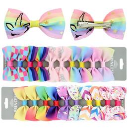 $enCountryForm.capitalKeyWord Australia - 10pcs Lot Unicorn Hair Bows With Card Rainbow Sequin Bow Baby Girls Hair Clips Barrettes Designer Hair Accessories For Kids Children A7302