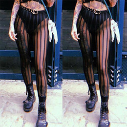 Wholesale sexy hot ladies pant for sale – dress Hot Women Sexy Black Mesh Sheer Striped Pencil Pants Summer High Waist Slim Stretchy Pants Lady Fashion Club Party Wear Trousers