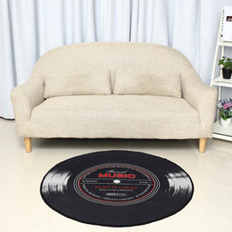 pvc kitchen carpet Canada - 4 size Music Carpet Rug Living Room Bedroom Kids Room 3D Vinyl Record Printed Round Floor Mat Chair Home kitchen Decor Anti slip Y200416