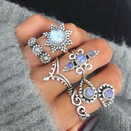 boho bands 2019 - 6pcs set Vintage Fashion Round Opal Flower Rings Boho Jewelry For Women Gifts cheap boho bands