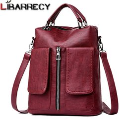 $enCountryForm.capitalKeyWord Australia - New Casual Double Pocket Backpack Female Large Capacity School Bag For Girls High Quality Leather Shoulder Bags For Women 2018 Y19061102