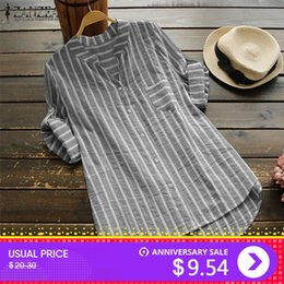 $enCountryForm.capitalKeyWord NZ - Zanzea Plus Size Women Blouse 2019 Summer Womens Striped Tops Casual Work Shirts Ladies Elegant Blusas V Neck Blusa Feminina 5xl Q190402