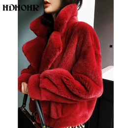 short mink fur NZ - HDHOHR 2019 New 100% Real Mink Fur Coat Women Fashion Essential Natural Mink Fur Coat Short Christmas Red Outerwear Jacket MX191207