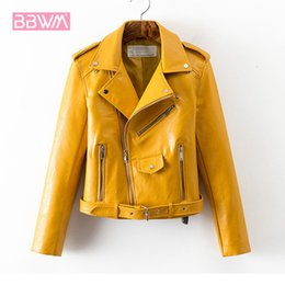 Wholesale pink korean jacket resale online - Leather jacket ladies autumn new Korean fashion short section waist Pu leather wild women s jacket Yellow pink black coat Y190920