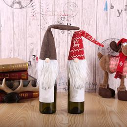 Family tree decor online shopping - 42cmx10cm Christmas Accessories Set Wine Bottle Cover Santa Doll Family Dinner Decor