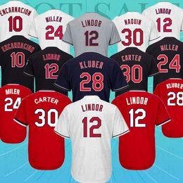 cf3d009f606 baseballJersey 12 Francisco Lindor Men Cleveland indians jersey 24 10 Edwin  Encarnacion 30 Joe Carter Baseball Jersey