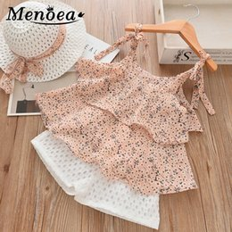 white floral shorts Canada - Menoea baby girl clothes Summer Kids Clothes Floral Chiffon Halter+Embroidered Shorts Straw Children Clothing for Girls Clothing CX200628