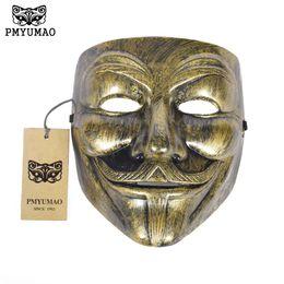 $enCountryForm.capitalKeyWord Australia - PMYUMAO 2017 New Gold Silver Color V for Vendetta Masks Halloween Horror Party Mask Guy Style Cosplay Props Mask