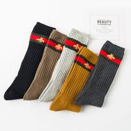 ccdbdb8c38070 women designwinter ladies cotton pile socks Japanese retro double needle  ladies embroidery Solid color tube socks female factory direct 2019