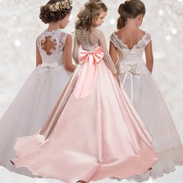 costumes for prom NZ - Trailing Lace Kids Girl Party Dress Costume Ball Gown Prom for Children Ankle-Length Lady Elegant Wedding Host Baby Dress LP-204