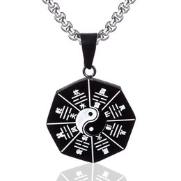 StainleSS Steel chi pendant online shopping - Titanium Steel Stainless Steel Tai Chi Yin Yang Pendant Necklace for Mens Womens