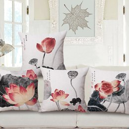 Lotus piLLows online shopping - In National Customs Ink Painting Lotus Hold Cotton Pillow Case Fashion Home Furnishing Sofa Cushion