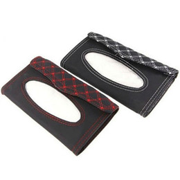 kit car box UK - Wholesale Car Kit Tissue Box Universal PU Car Sun Visor Hanging Type Embroidery Pattern Tissue Cover In Car Styling Interior Accessories