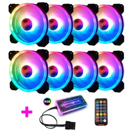 $enCountryForm.capitalKeyWord NZ - Colorful 120MM Round RGB CPU Cooling Fan+Remote Control set double aperture LED glowing PC Case Chassis Water Cooling silent Fan