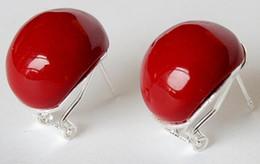 $enCountryForm.capitalKeyWord Australia - Jewelryr Jade Earring 18mm Red Coral Beads Stud Earrings lady's fashion jewelry Free Shipping