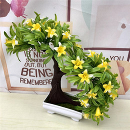 $enCountryForm.capitalKeyWord Australia - Artificial Green Plants Bonsai Small Lily Tree Pot Plant Plastic Fake Flowers Potted Ornaments For Home Garden Decoration 52841