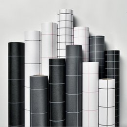 Wallpaper self-adhesive square grid black and white simple PVC waterproof wall sticker bedroom living room wall renovation wallpaper 60cm on Sale