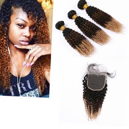 "russian curly hair bundle Canada - 3 Tone Ombre Bundles with Closure Russian Hair Dark Root 4"" * 4"" Kinky Curly Ombre Ear To Ear Closure with Bundles"