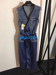 Girls Polka Dotted Shirt Australia - women girls denim vest dress patchwork polka dot belt v-neck sleeveless a-line midi pencil skirts high end new fashion luxury runway dresses