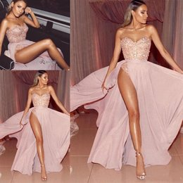 Sexy Evening Dresses Split Red Carpet Australia - Sexy Light Pink Evening Dresses With Sweetheart Appliqued Beaded Side Split Chiffon Long REd Carpet Wears Custom MAde Prom Party Dress