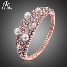 $enCountryForm.capitalKeyWord NZ - Azora Luxury Multicolor Austrian Crystals Cuff Bracelet Brand Pearl For Women New Fashion Jewelry Gift Bangles Tb0115 C19041301