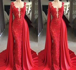 Navy Dress Occasion Australia - Bright Red 2019 Lace Evening Dresses with Watteau Train Applique Sheer Neck Evening Gowns Dresses Evening Wear special occasion dress