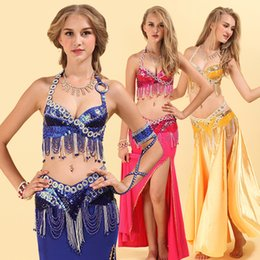 $enCountryForm.capitalKeyWord Australia - Women Latin Belly Dance Costume Sets Ladies Dancer Stage Performance Clothes 3 Piece Bra + Belt +Skirt