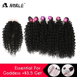 curly synthetic lace closure NZ - 2020 New Noble Synthetic Hair Weave 16-20 inch 7Pieces lot Afro Kinky Curly Hair Bundles With Closure African lace For Women hair Extensi