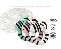 Discount teethers - Zebra Giraffe Dinosaur Koala Baby Silicone Teethers BPA Free Teething Toy Baby Ring Teether safety food material