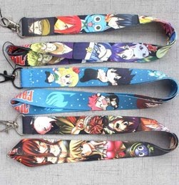 fairy tail keys wholesale UK - FAIRY TAIL Keychains Lanyard Straps ID Holders Japanese Anime Phone Key Straps