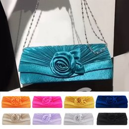 pink gold party decorations NZ - MoneRffi Women's Satin Flower Decoration Clutch Bag Shoulder Strap Handbag Solid Color Clutch Bag Evening Party