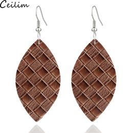 Oval shape earrings online shopping - 2019 New Arrival PU Leaf Shape Leather Earrings For Women Design Jewelry Oval Water Shape Statement Teardrop Earring Jewelry Gifts