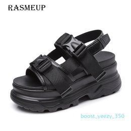 thick sole sandals Australia - RASMEUP Platform Women's Sandals 2019 Fashion Summer Leather Buckle Women Thick Soled Beach Sandal Casual Chunky Woman b35