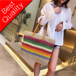 $enCountryForm.capitalKeyWord Australia - Women Rainbow color Handbag Beach Bag Rattan Woven Handmade Knitted Straw Large Capacity Tote Leather Women Shoulder Bag Bohemia