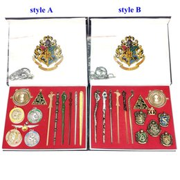 $enCountryForm.capitalKeyWord Australia - 13 or 14Pieces Set Harry Potter Magic Wand Four Schools Witchcraft Wizardry Logo products Alloy gift With Box MMA2236