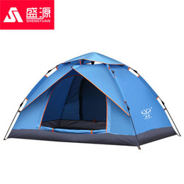 windproof waterproof tents Canada - Two Persons Automatic Camping Windproof Tent Family Outdoor Travel Hiking Tent Double Layer Shade Waterproof Beach